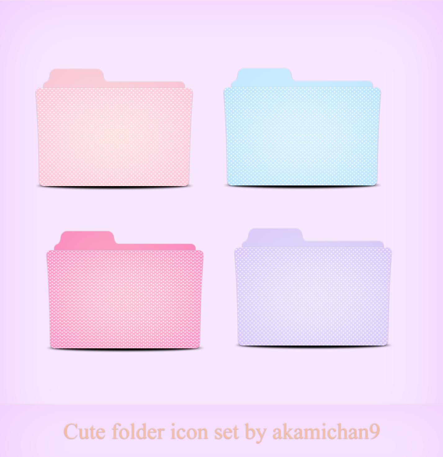 Cute folder icon set by akamichan9 on DeviantArt in 2020