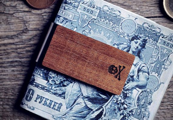Handcrafted wood money clip  Skull and by GothChicAccessories