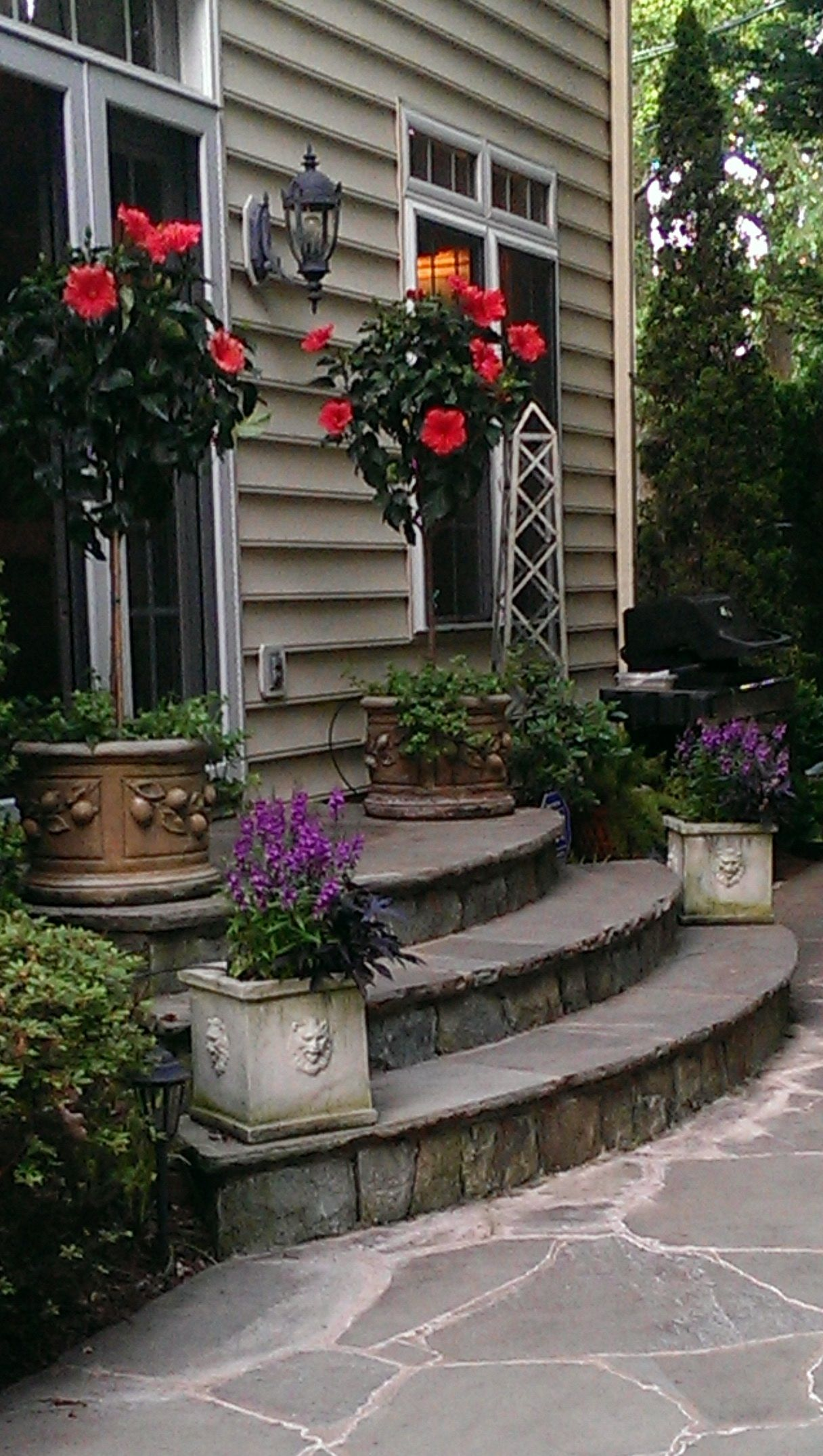Landscaping ideas for front yard with porch  Pretty exterior entrance  Exterior House  Pinterest  Stone patio