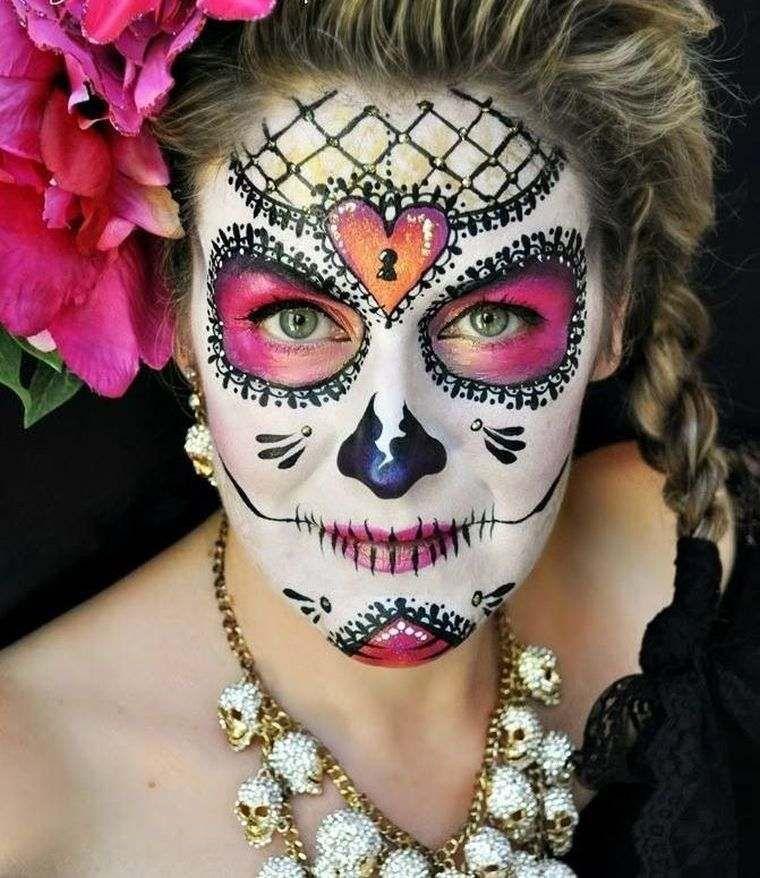 maquillage halloween femme simple et original inspirations en photos dia de los muertos. Black Bedroom Furniture Sets. Home Design Ideas