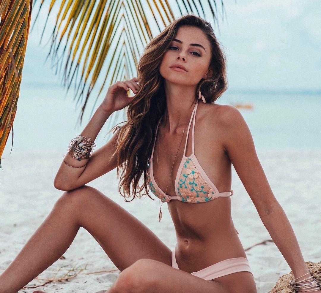 Sexy Petite Brunette Model Daniella Beckerman On The Beach In A String Bikini