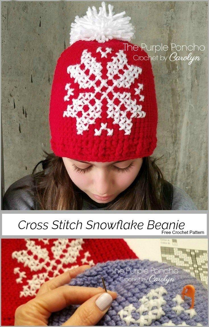 Cross Stitch Snowflake Beanie A Free Crochet Pattern | Amigurumi und ...