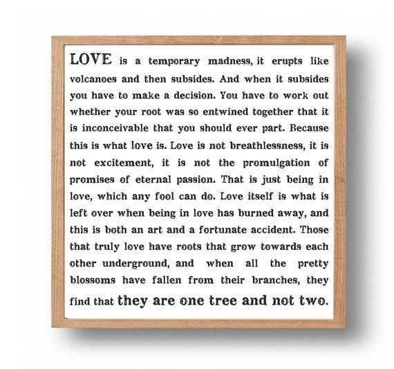 CAPTAIN CORELLI'S Mandolin Love Quote Print, Wedding Gift