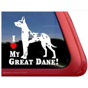 I Love My Great Dane Harlequin Great Dane Vinyl Window Auto