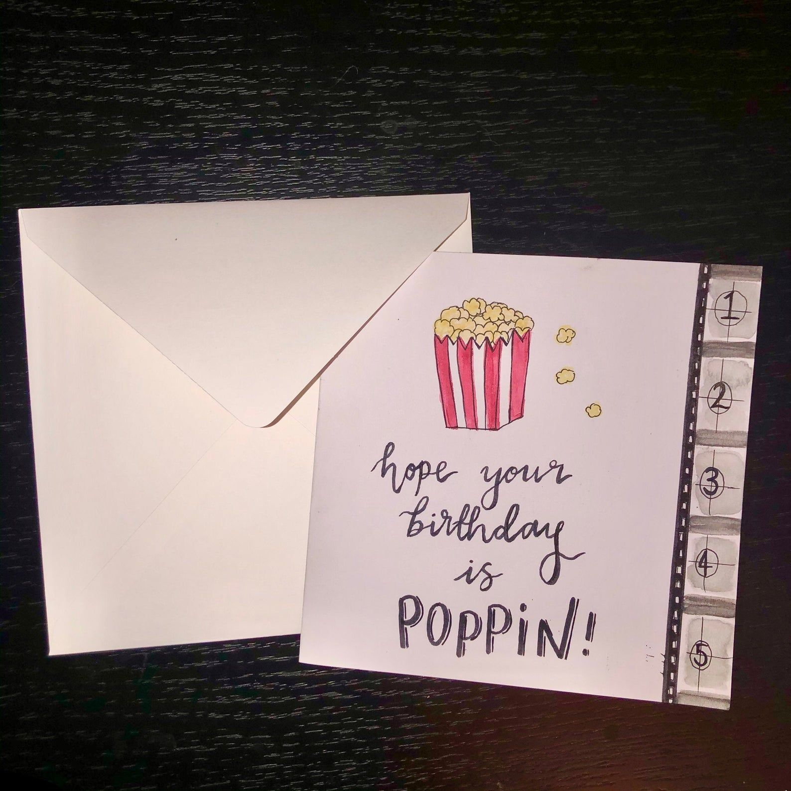 Hand Painted Birthday Card Film Cinema Theme Popcorn Caption Etsy Birthday Cards Watercolor Greeting Cards Cards