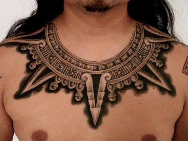 Aztec Warrior Necklace Tattoo Aztec Tattoo Collar Tattoo Aztec Tribal Tattoos