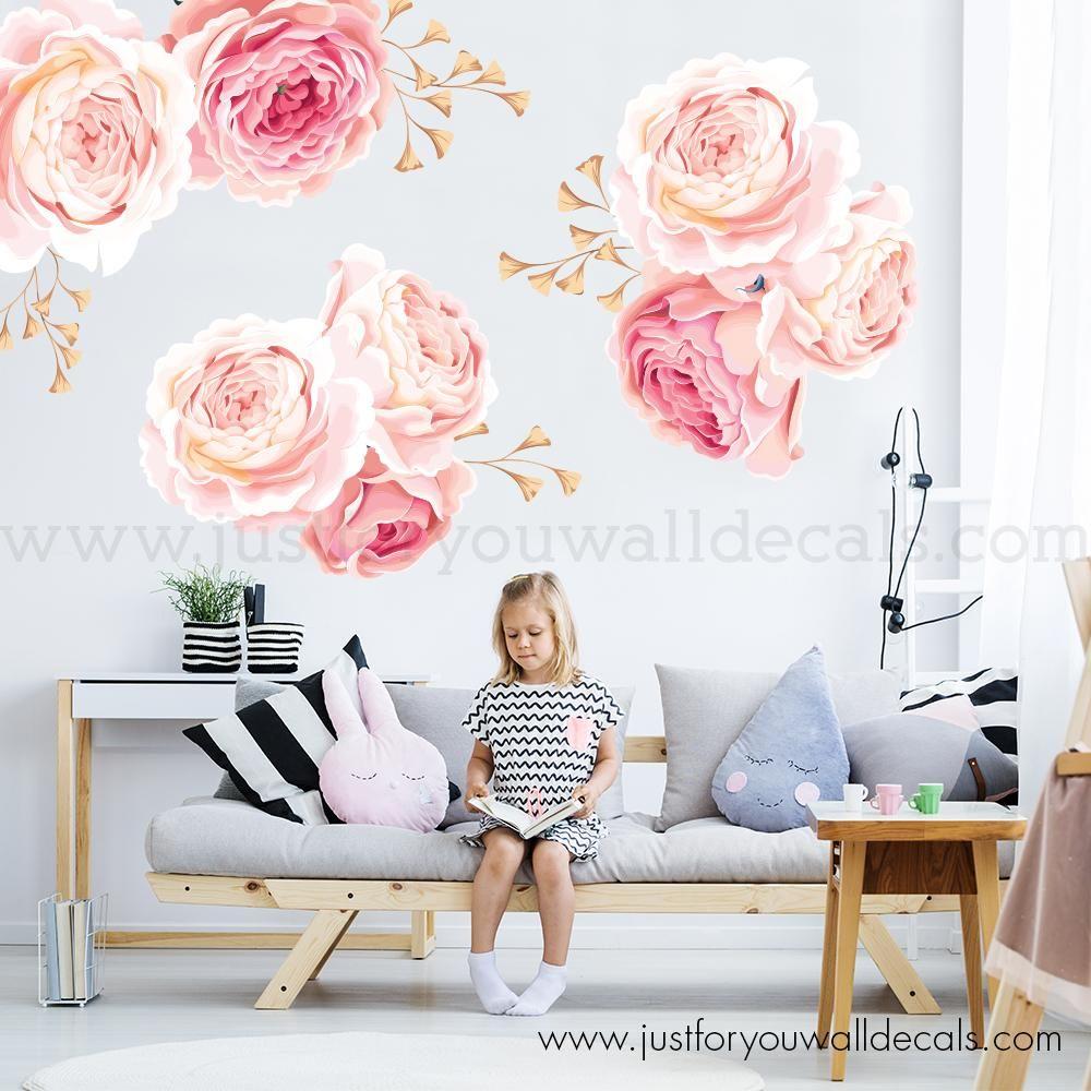 Sophia Pastel Watercolors Flowers Blooms Wall Mural Decal In 2019