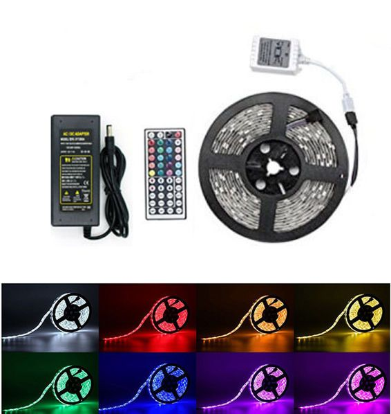 Led Light Strips With Remote Endearing 5M Rgb 5050 Waterproof Led Strip Light 300 Smd 24 Key Remote 12V 5A