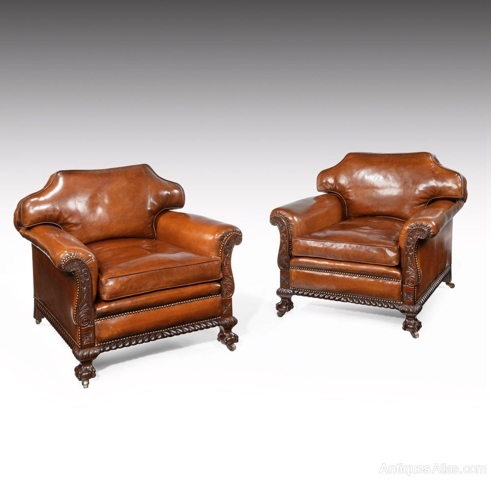 Large Pair Of Country House Leather Armchairs In 2020 Armchair