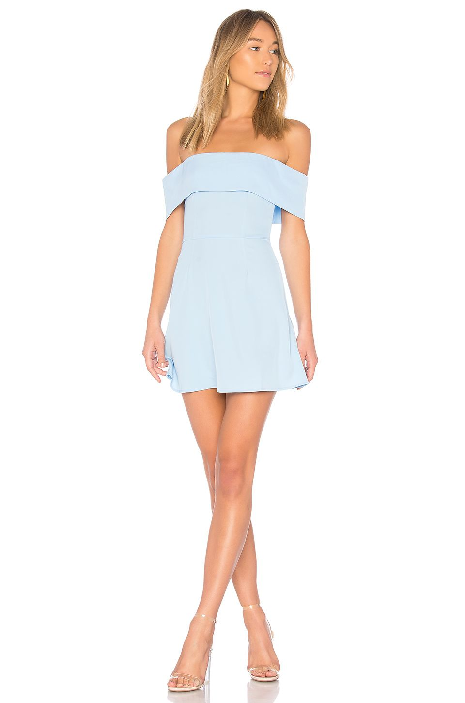 By the way aubrey off shoulder dress in light blue when you need