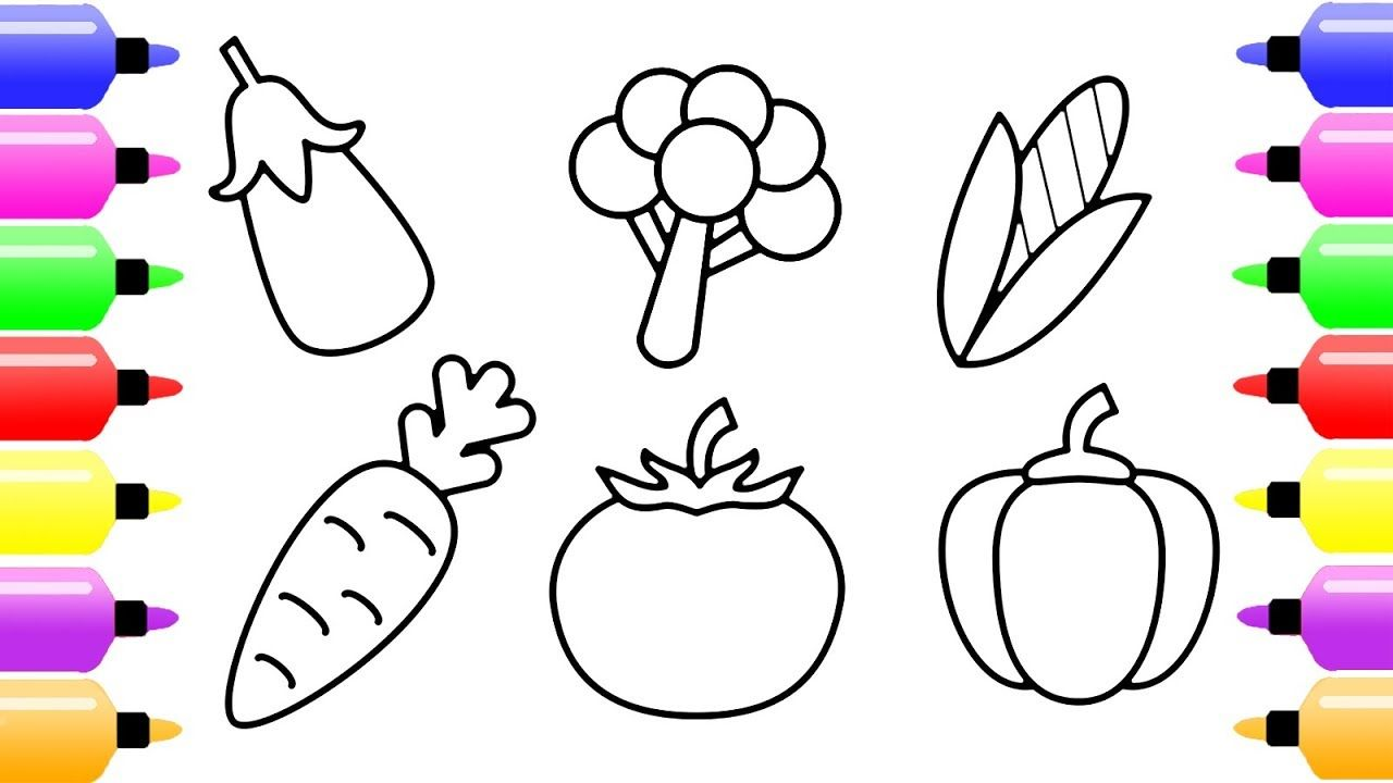 How to Draw Vegetables for Kids Vegetable Coloring Page