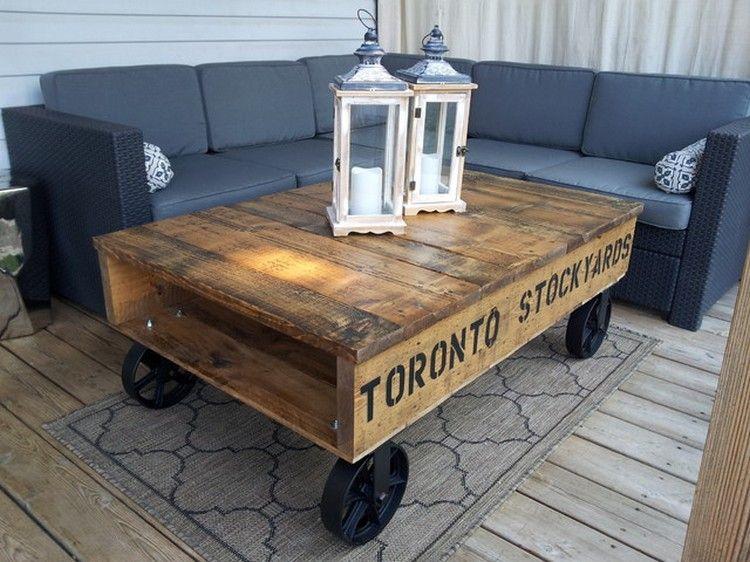 Pallet Coffee Table With Wheels Tafel Wielen Tafels Houten Meubels