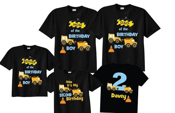 Mom of the Birthday Boy and 2nd Birthday Shirt Construction Birthday Shirts on BLACK Shirts L3YwqxI3f