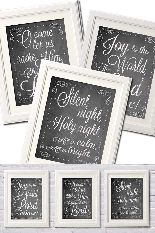 Christmas Carol Chalk Printable Downloads. Decorate your home for Christmas with this set of ...
