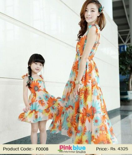 ddd90c9b9111f Blue and Orange Mother Daughter Matching Family Clothing | Family ...