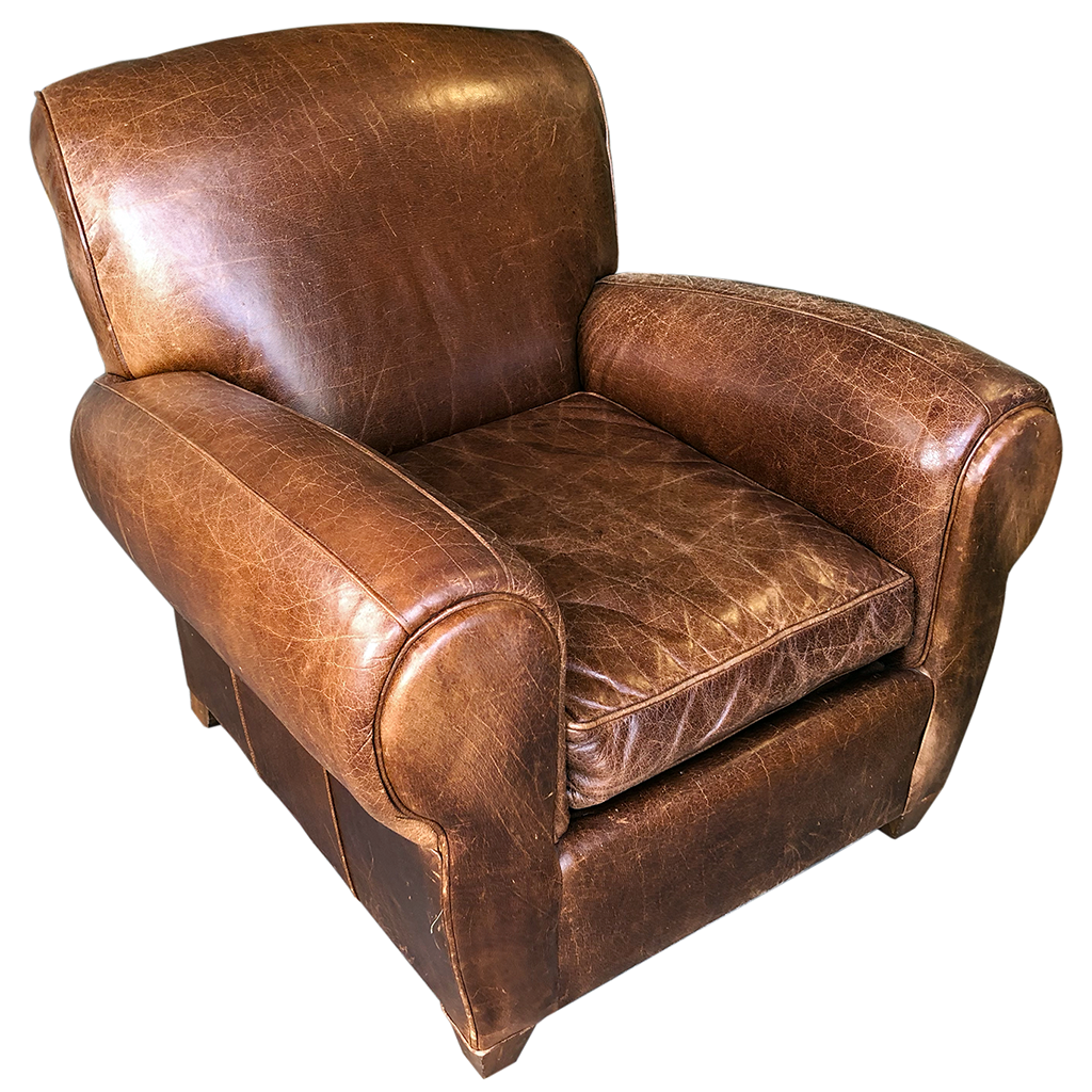 Vintage Pottery Barn Leather Manhattan Club Chair Only 575 Leather Armchair Armchair Pottery Barn