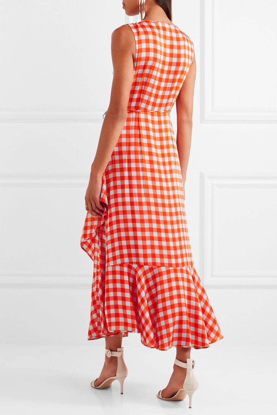 Cheap Latest Collections Visit For Sale Ruffled Gingham Stretch-silk Wrap-effect Midi Dress - Red Diane Von Fürstenberg Fashionable For Sale Cheap Sale Limited Edition UBB0Gg1z