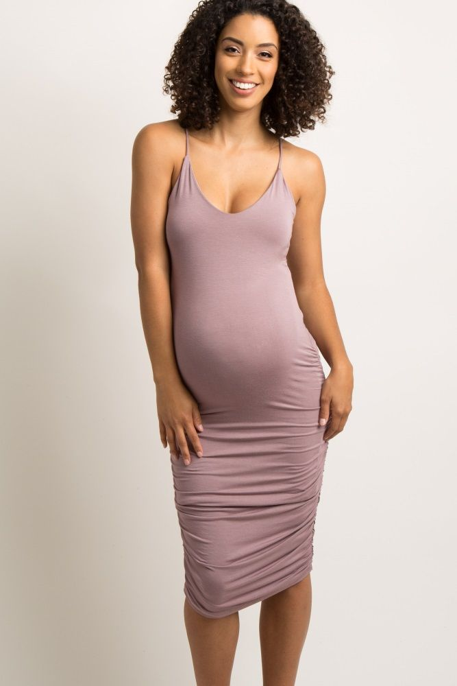 631c13e67491 Mauve Solid Fitted Cami Midi Dress A form-fitting, solid hued maternity  dress featuring