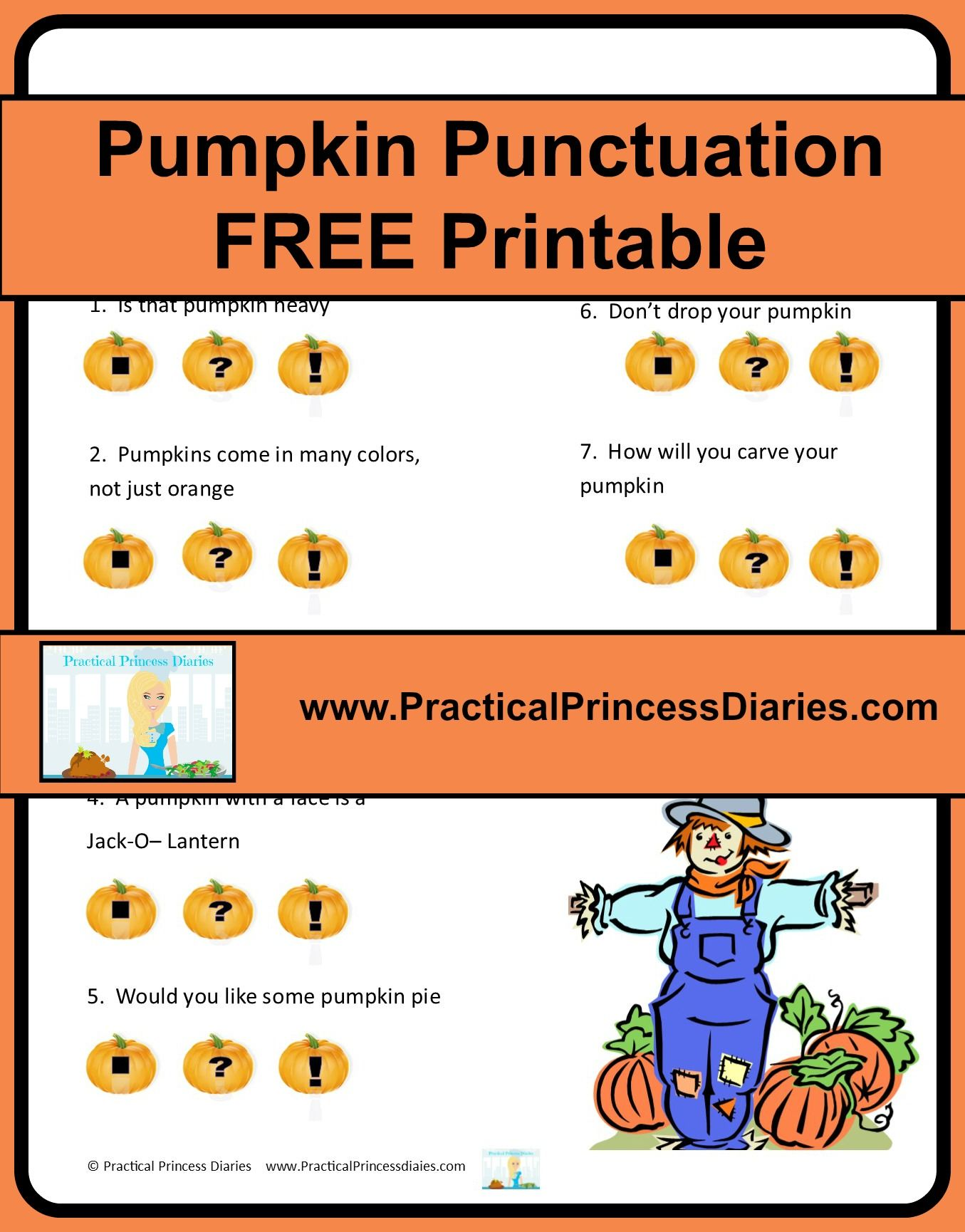 Practical Princess Diaries Pumpkin Punctuation Free