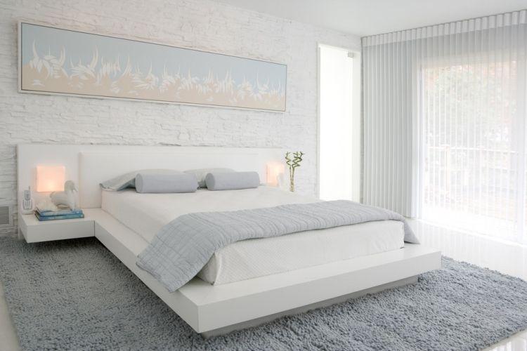 Lieblich Schlafzimmer Weiss Modern Verblendsteine Textur Graue Akzente