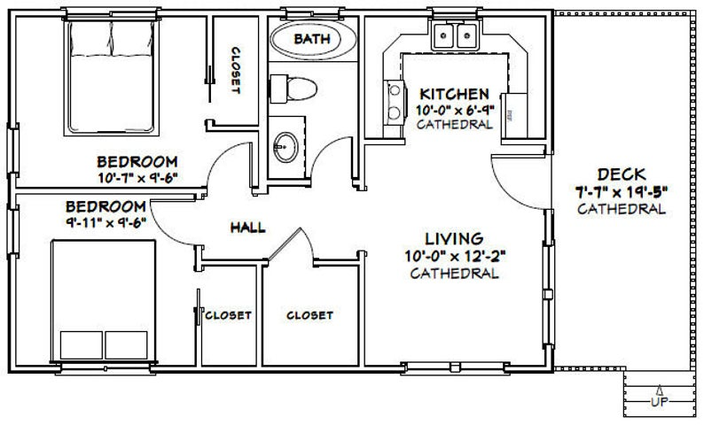 30x20 House 2 Bedroom 1 Bath 600 sq ft PDF Floor Plan Instant Download Model 2A