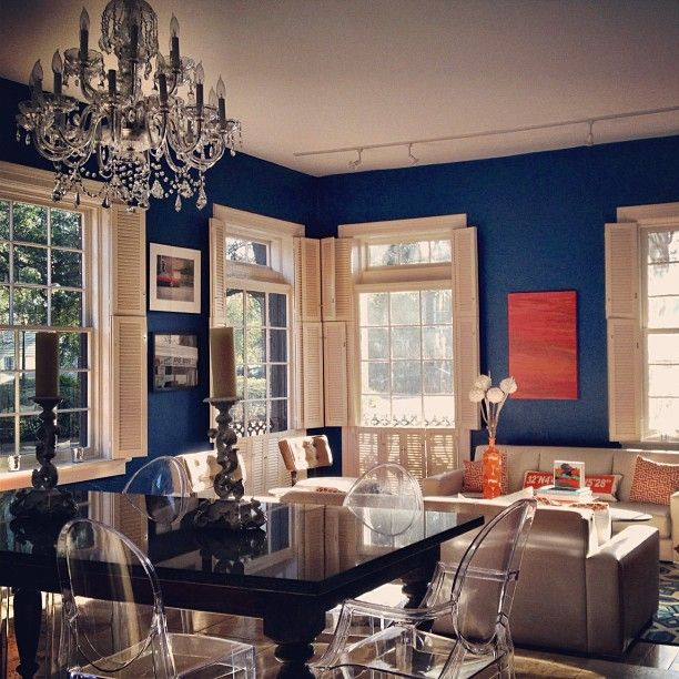 Blue And Orange Living Room Blue Walls Navy Blue Orange