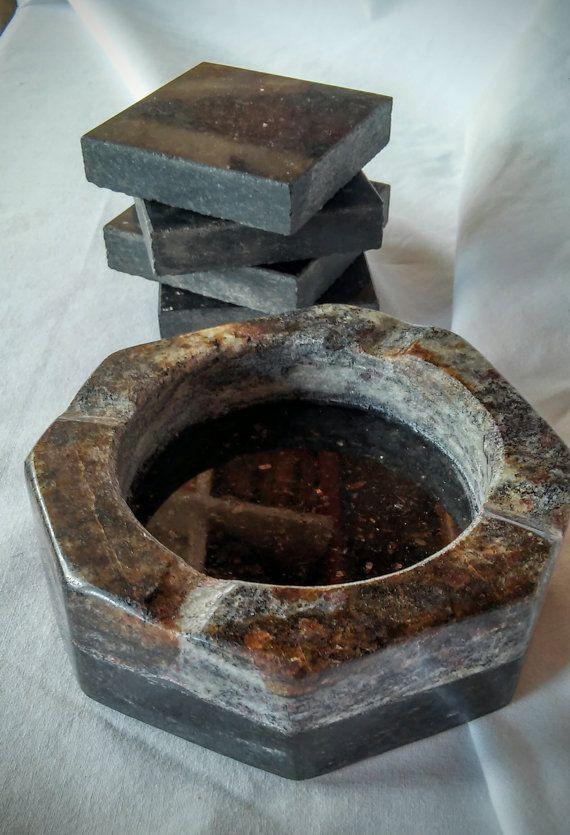 Handmade Granite Ashtray And Coaster Set Cocinas Pequenas Granito Disenos De Unas