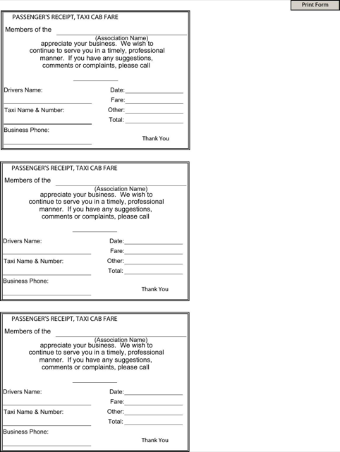 Blank Taxi Receipt  TemplatesForms    Receipt Template