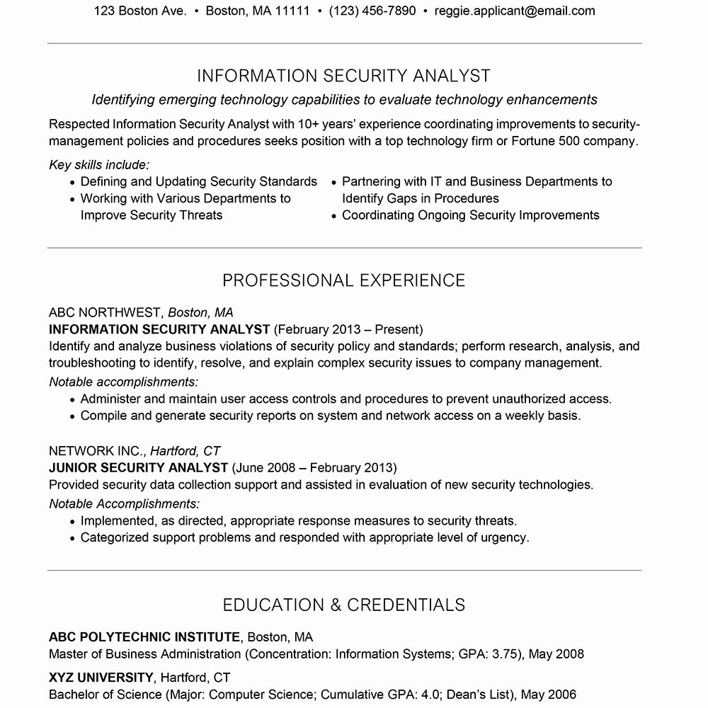 Cyber Security Resume Objective Unique Information Security Analyst Cover Letter And Resume In 2020 Security Resume Job Resume Samples Resume Objective