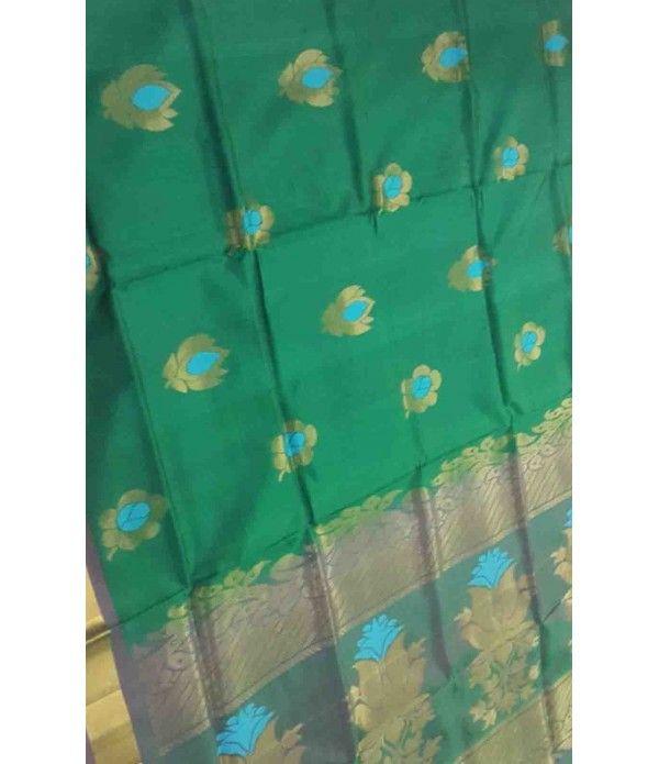 Green Pure Handloom Kanjeevaram Soft Silk Saree