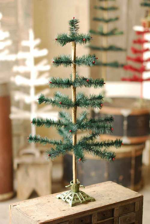 green feather tree with cast iron base goose feather christmas tree - A Country Christmas Cast