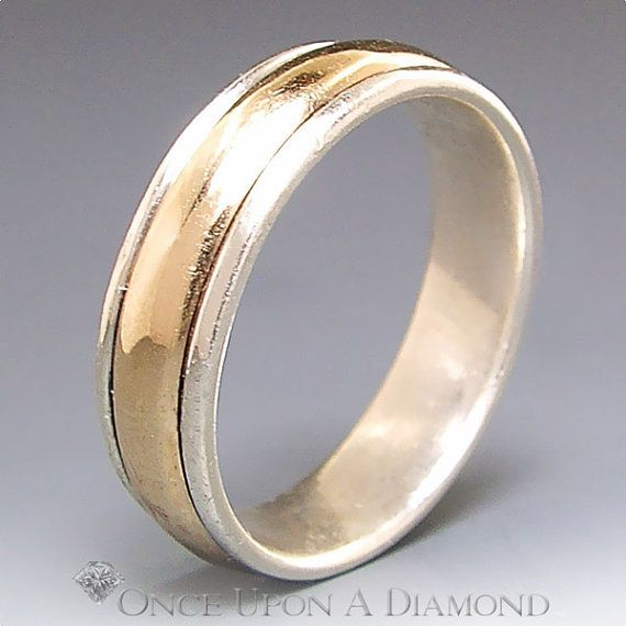 James Avery Man S Wedding Band 14k Gold Sterling Two Cool Wedding Rings Mens Gold Wedding Band Mens Wedding Bands