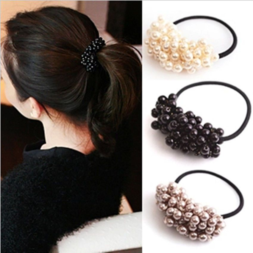 Details about 3Color Women Ladies Elastic Hair Ties Band