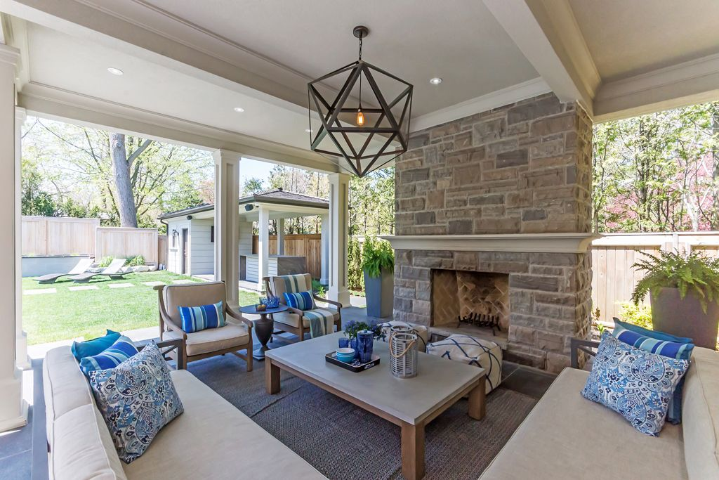 Outdoor living room with wood burning fireplace | 276 ... on Bade Outdoor Living id=34003