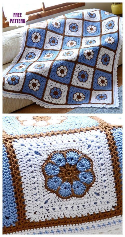 8-Blütenblatt African Flower Afghan Gratis Häkelanleitung - Video #crochetmotif