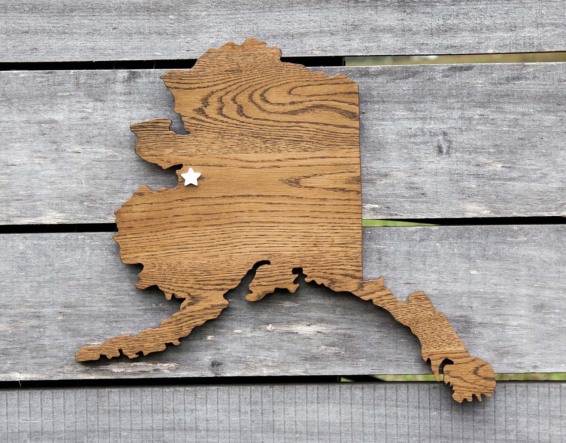 Co color art printing alaska - Alaska State Shape Wood Cutout Sign Wall Art In Oak 20 Wide 6