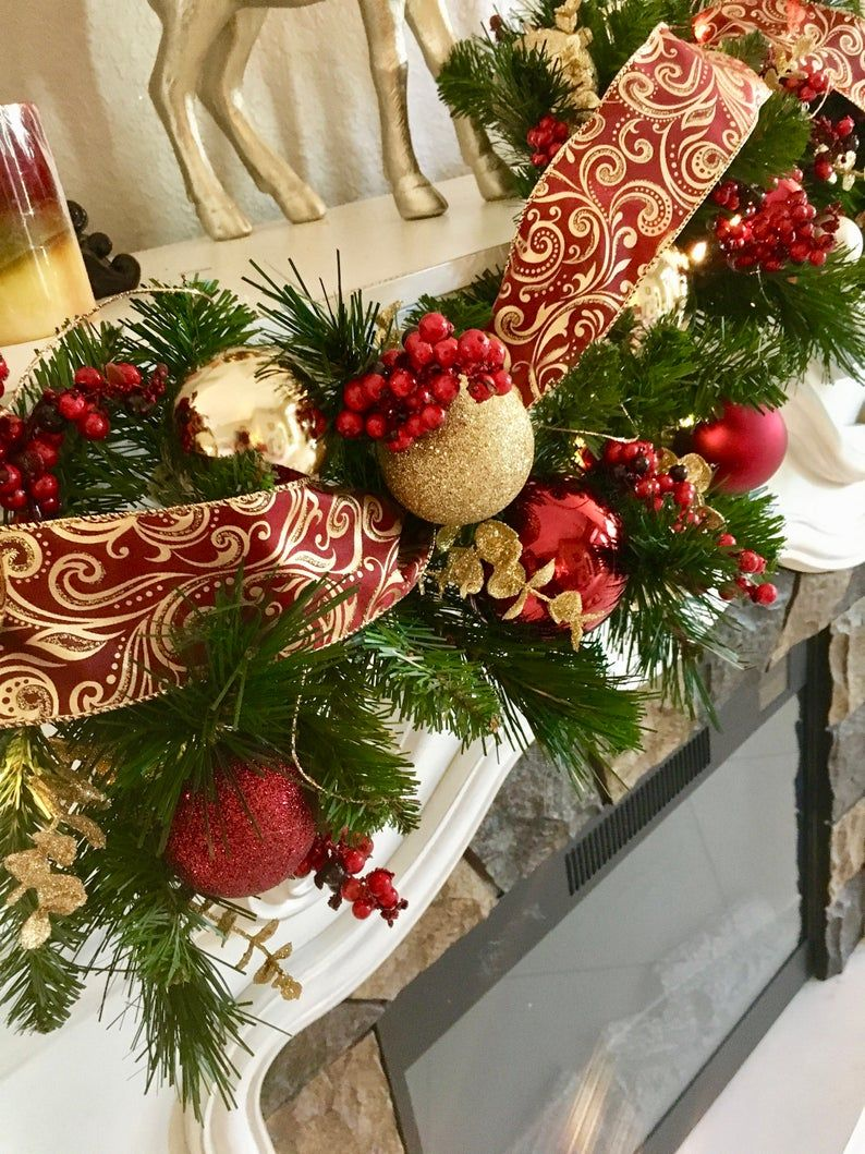 Set Of 2 Christmas Wreath And Garland Beautiful Burgundy And Etsy Christmas Garland Christmas Wreaths Wreaths And Garlands