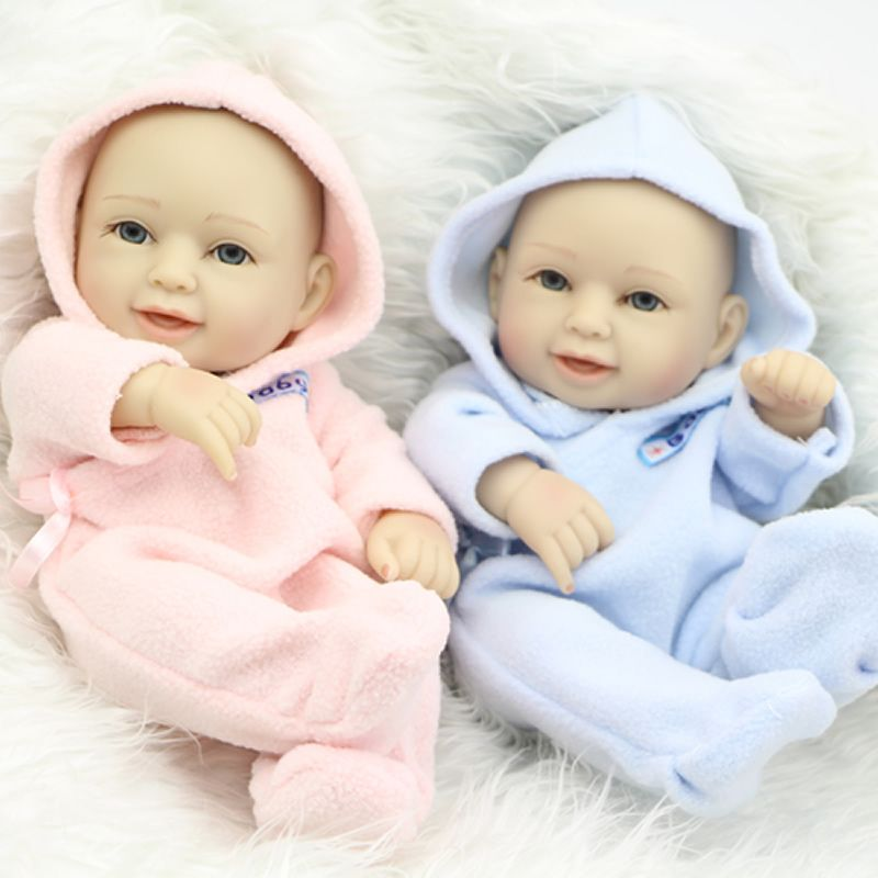 Realistic Baby Dolls Twins Tiny Full Silicone Body Doll 11inch for Kids Playmate