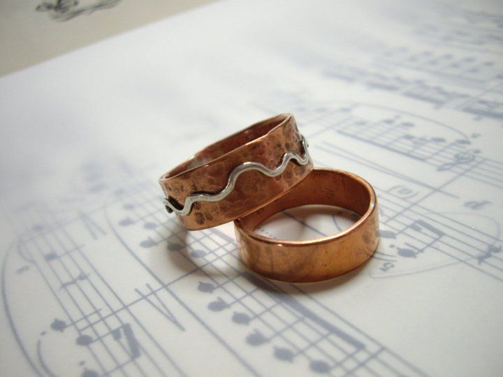 more rings! Copper and sterling silver rings