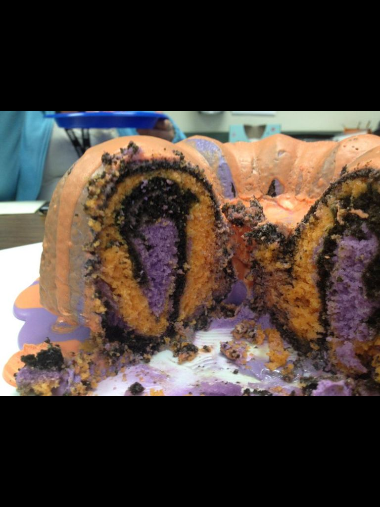 "Halloween bunt cake... Recipe on my ""sweets"" board.. Easy to make and SO cool! It also tasted good too! :)"