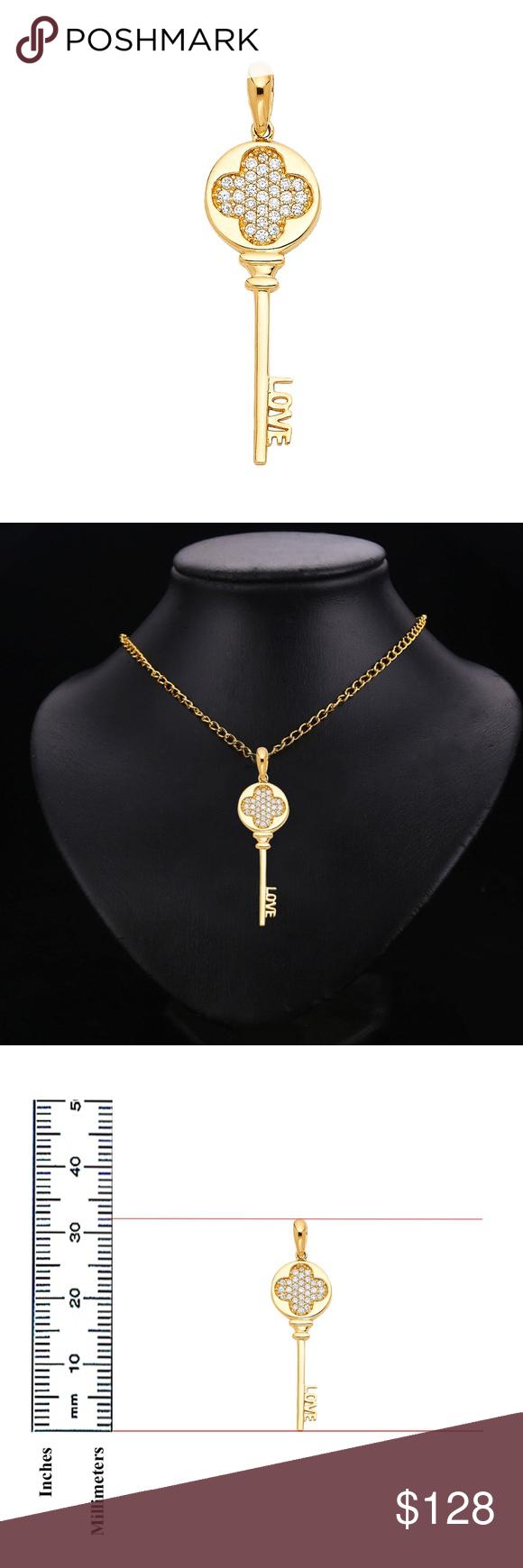 14k Yellow Gold Love Key Pendant Height 32 MM Width 11 MM