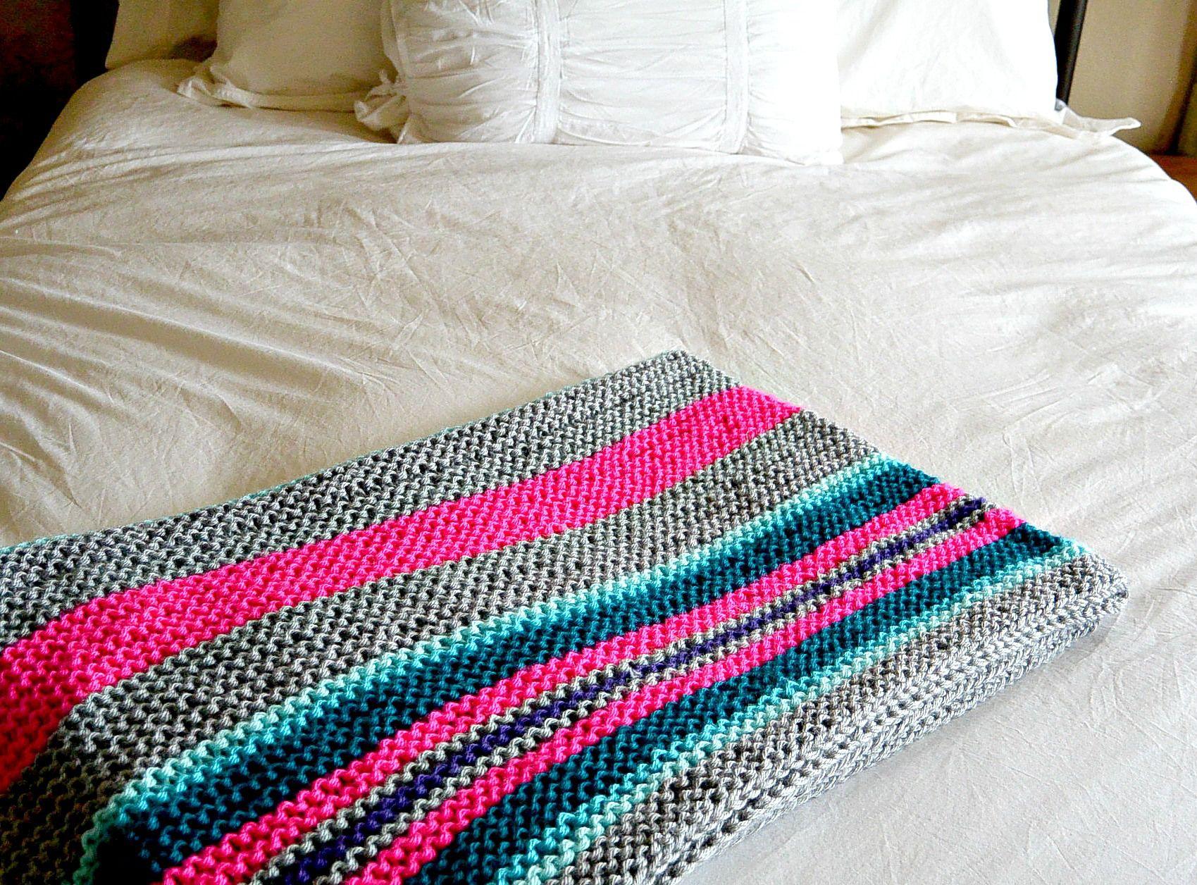 Beginner Serape Style Knit Blanket | Knitting patterns | Pinterest ...