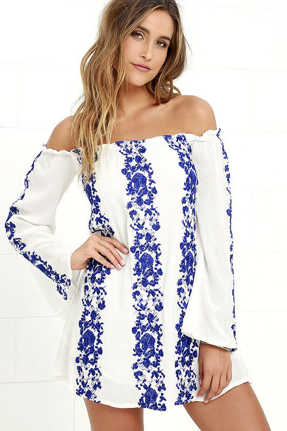 1f0ad8aa2ab3 Sun Love Blue and Ivory Embroidered Off-the-Shoulder Dress at Lulus.com!