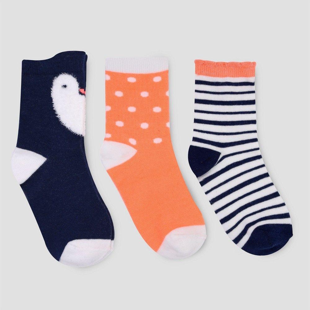 Cat /& Jack 4T-5T New Multicolored Toddler Girls/' 3pk Kitty Crew Socks