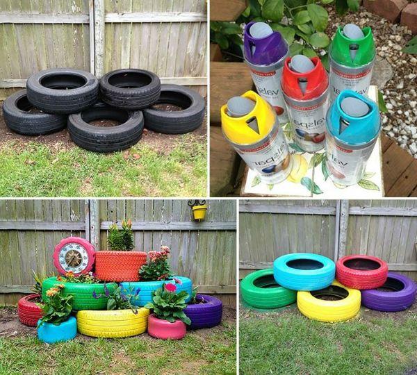 reifen in verschiedenen farben als deko | ideas for old tires, Esszimmer