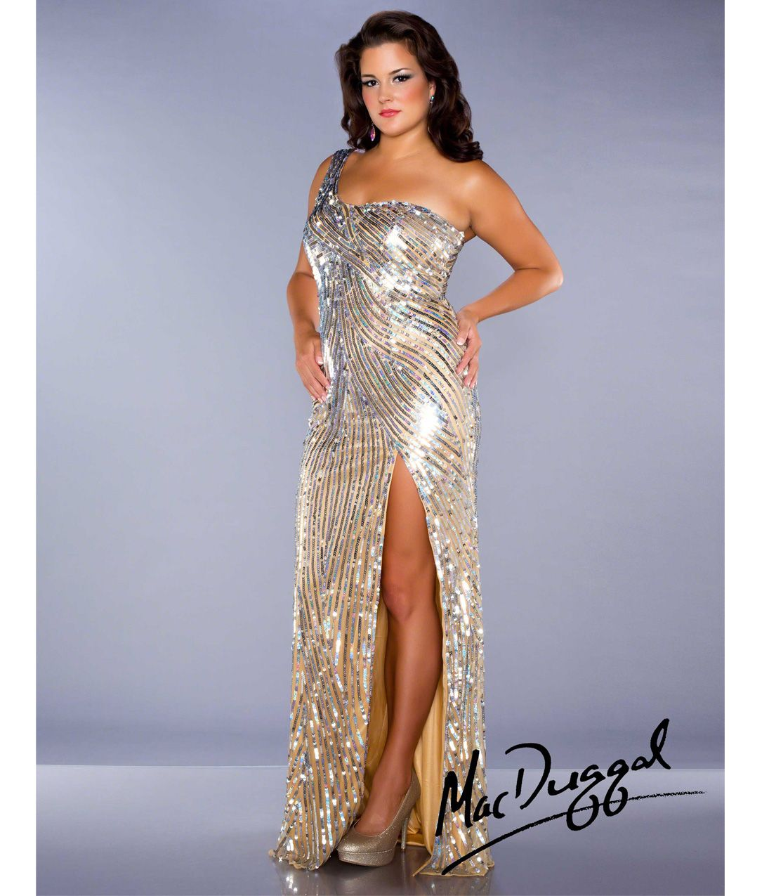 Mac Duggal 2014 Plus Size Dresses Nude Silver Sequin Beaded One