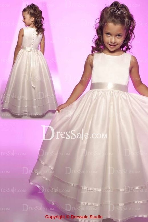 Appealing and adorable sleeveless style flower girl dress fits any figure and features thin sash with sleek feeling highlights empire waistline while flattering smooth skirt floats over the leg and extends freely down to floor, linear button closure as embellishments completes the design.