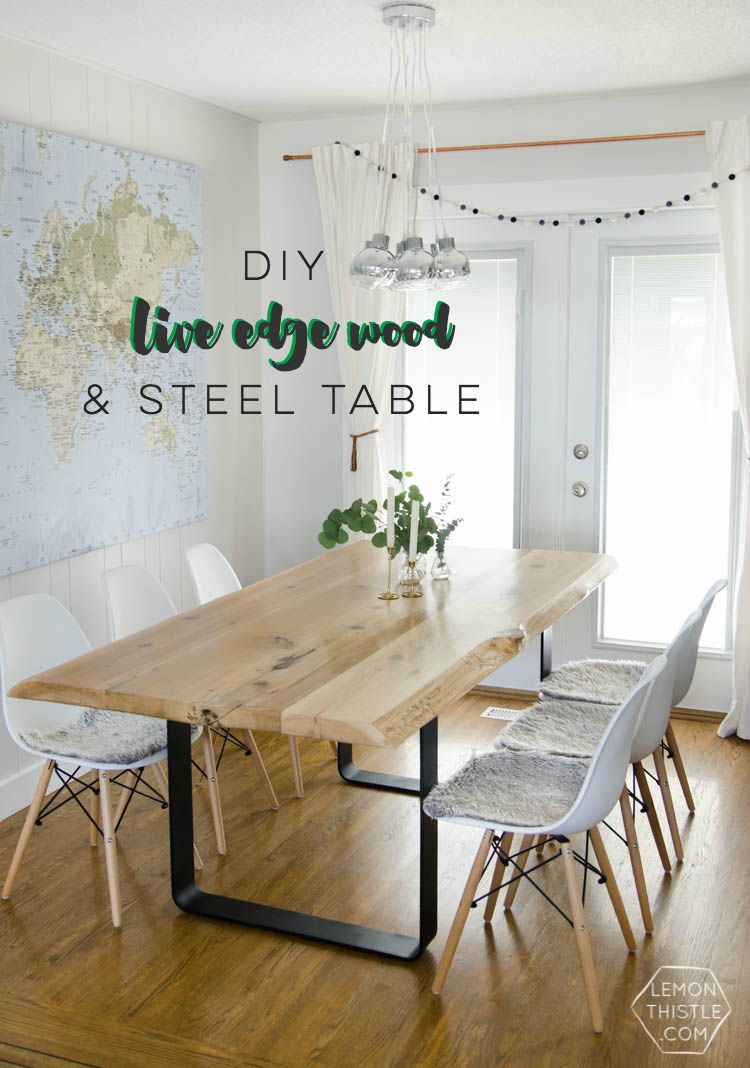 Diy live edge wood dining room table with steel legs for Round table legs diy