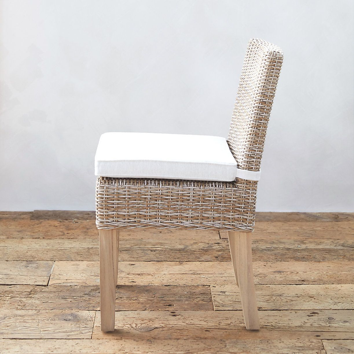 All Weather Wicker Amp Teak Side Chair Teak Dining Chairs