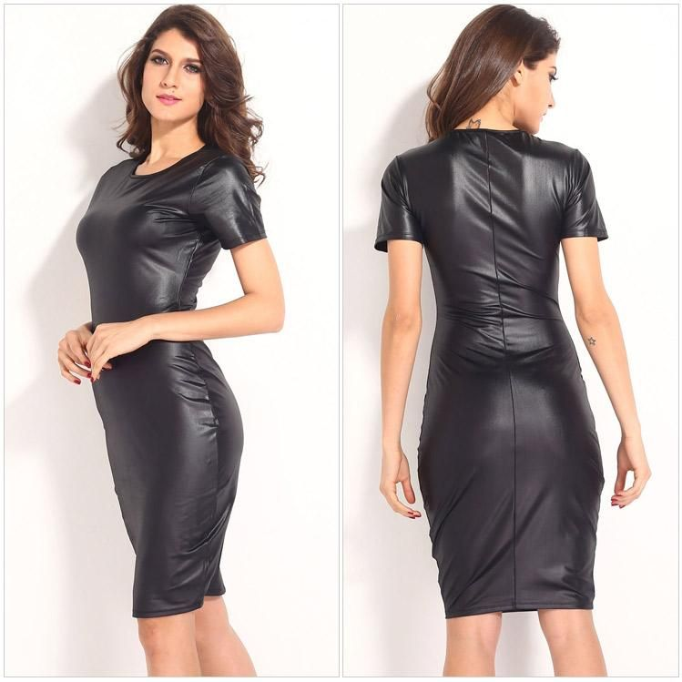 New Hot Imitation Leather Club Wear Women Sexy Short Sleeve Fish ...